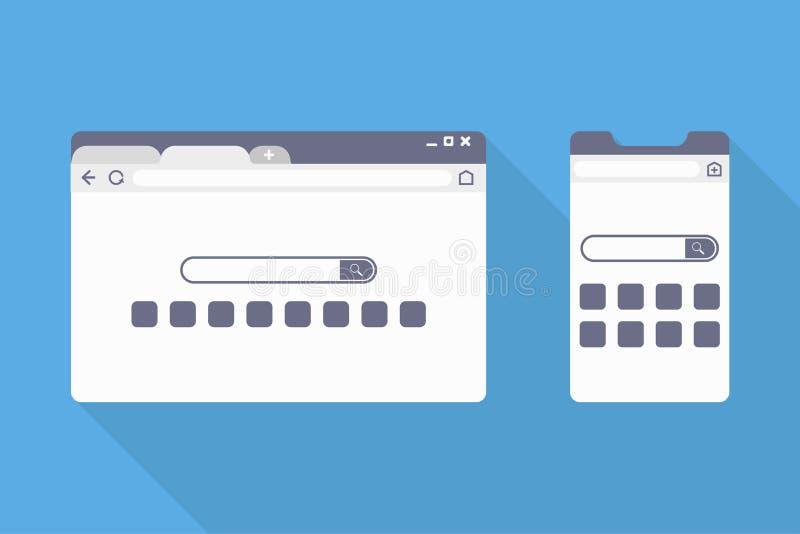 Browser-Website-Suche pc und Telefon in flach vektor abbildung