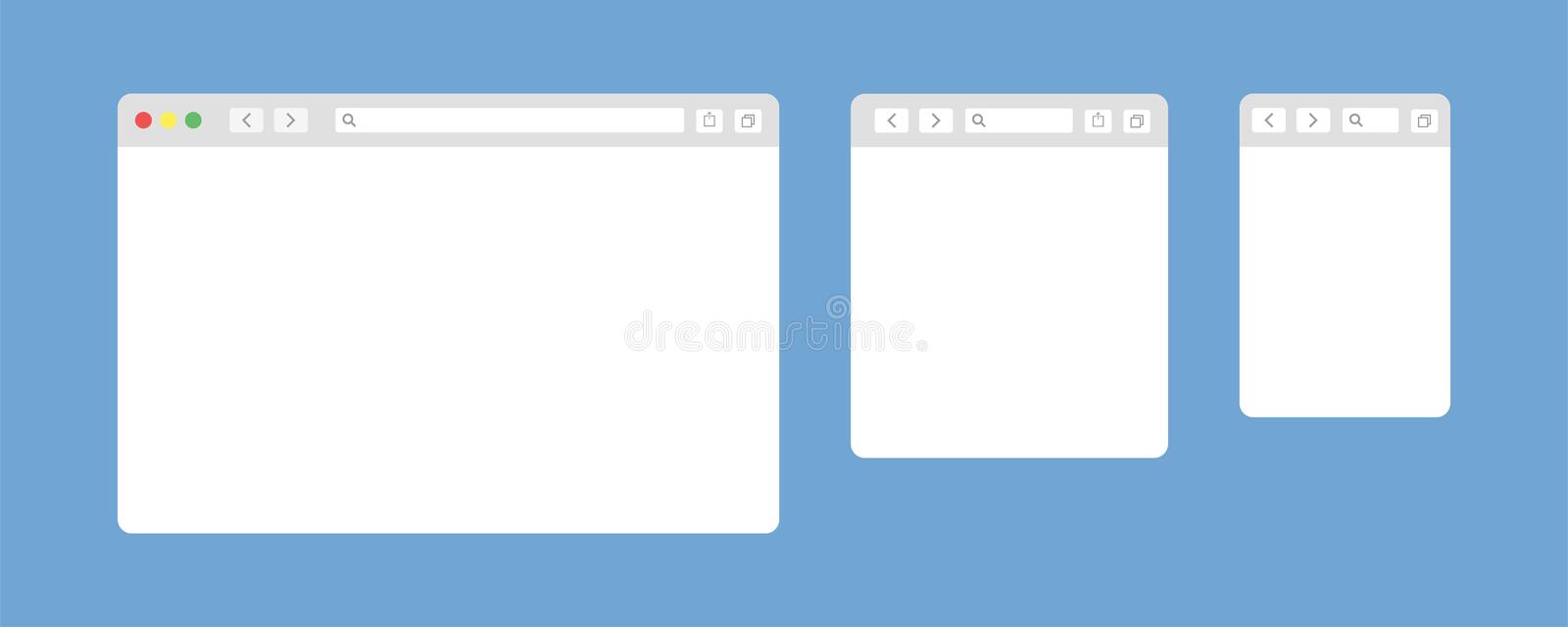 Browser window isolated vector web elements. Design template with browser window for mobile device design. Blank template. Website. Template design. Mockup for stock illustration