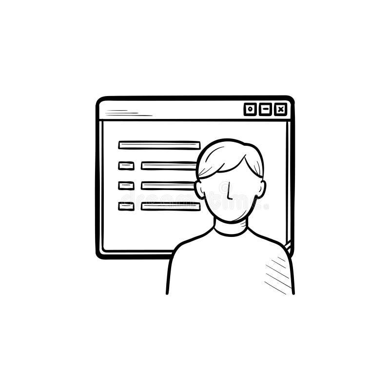 Browser Window mit Entwurfs-Gekritzelikone der Webseite des Sozialen Netzes Hand gezeichneter vektor abbildung