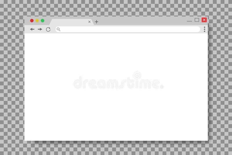 Browser window in mockup style. Empty website page. Mockup screen of browser window. Web page in flat style. Computer interface stock illustration