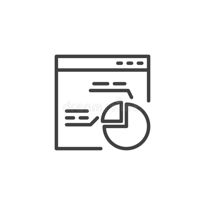 Browser window with pie chart line icon stock illustration