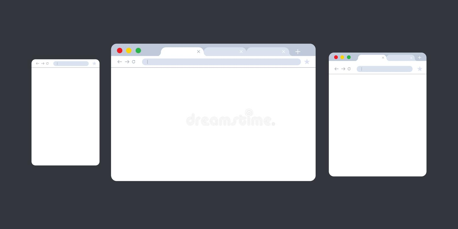 Browser window.Web browser in flat style. Window concept internet browser. Mockup screen design. Vector illustration stock illustration