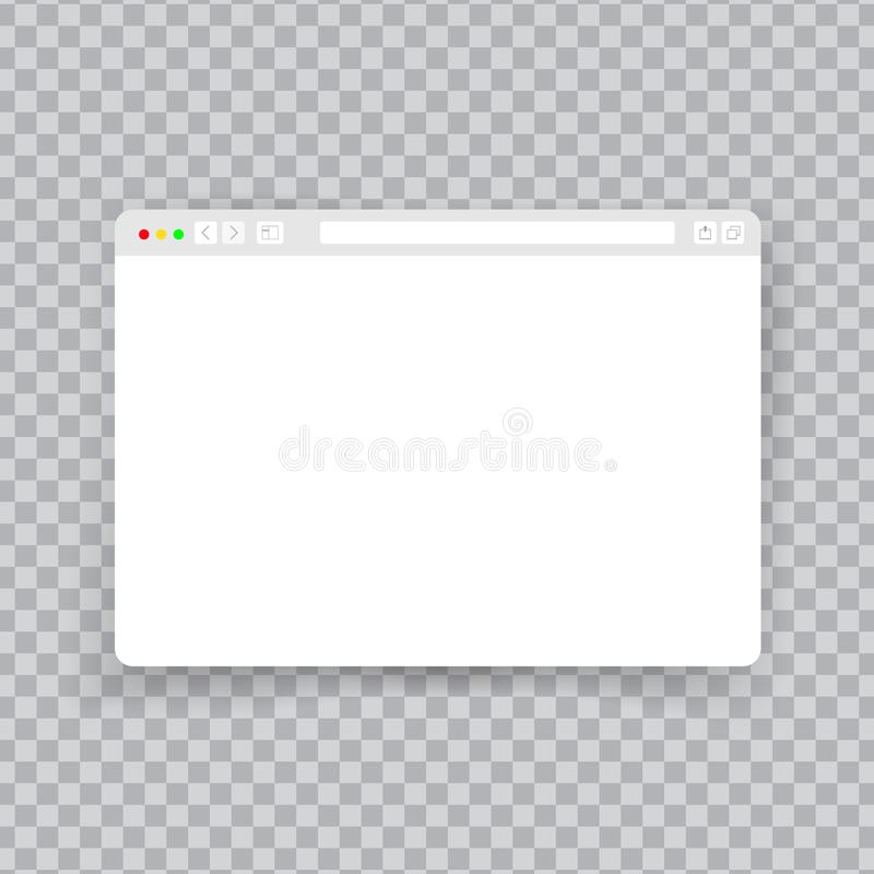Browser window. Web interface mock screen internet document mockup website flat blank frame tab page elements on stock illustration