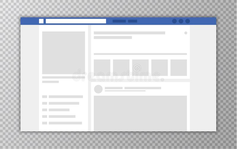 Browser window with Web page. Concept of Social Media Interface template. User Comments. Vector illustration. Browser window with Web page. Concept of Social stock illustration