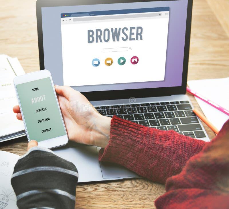 Browser-zufriedenes Funktionalitäts-Informations-Internet-Konzept lizenzfreies stockbild