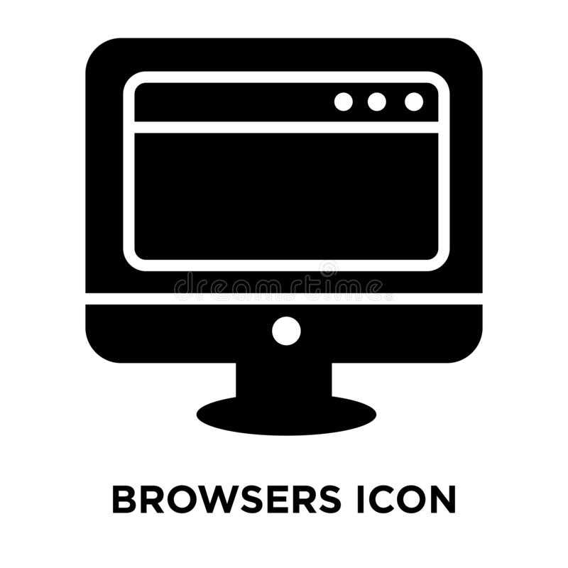 Browsers icon vector isolated on white background, logo concept. Of Browsers sign on transparent background, filled black symbol stock illustration