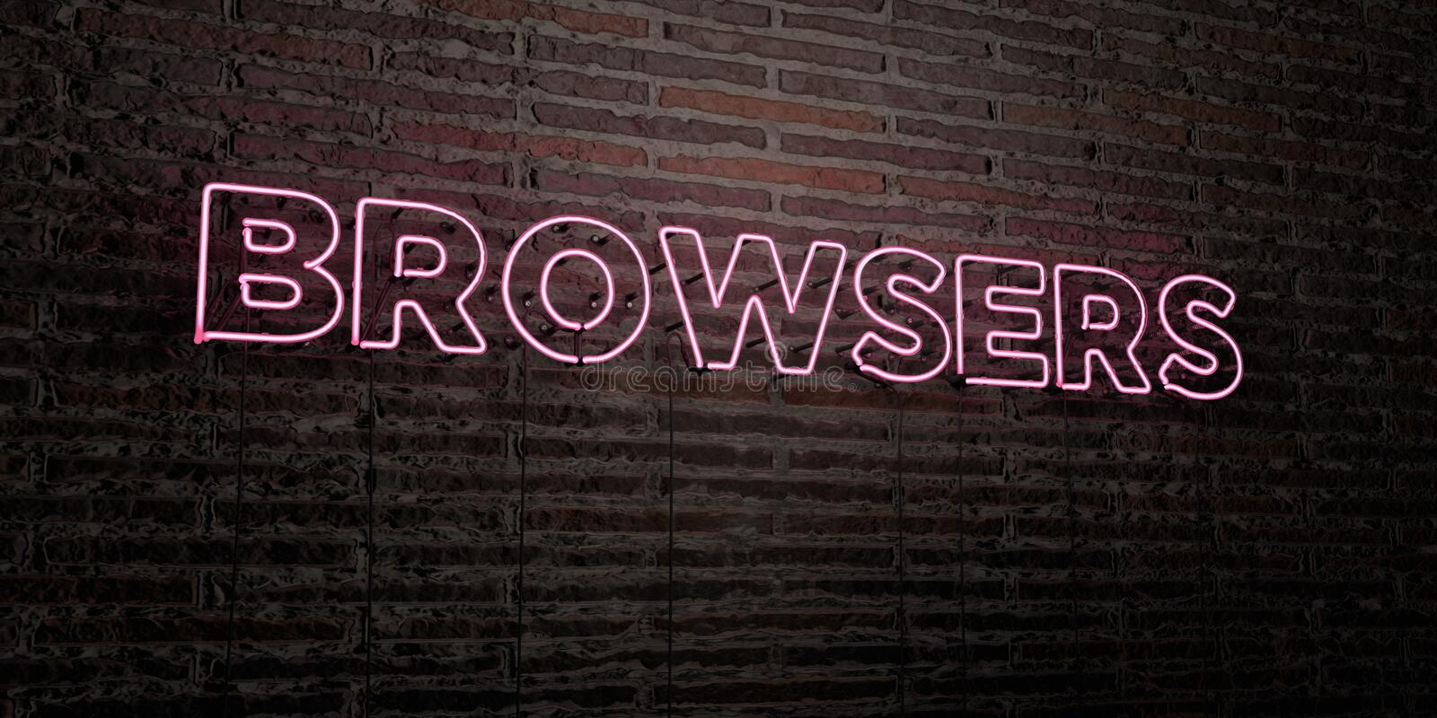 BROWSERS -Realistic Neon Sign on Brick Wall background - 3D rendered royalty free stock image. Can be used for online banner ads and direct mailers royalty free illustration