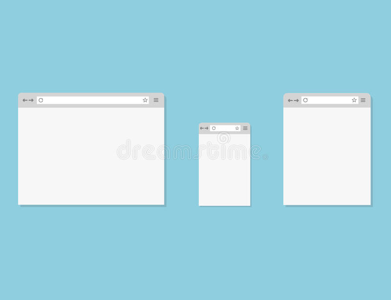 Browsers set. 3 window for laptop, tablet and smartphone stock illustration