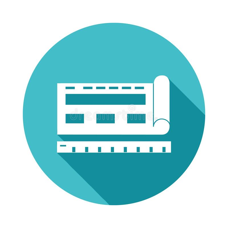browsersiteritningsymbol i plan lång skuggastil royaltyfri illustrationer