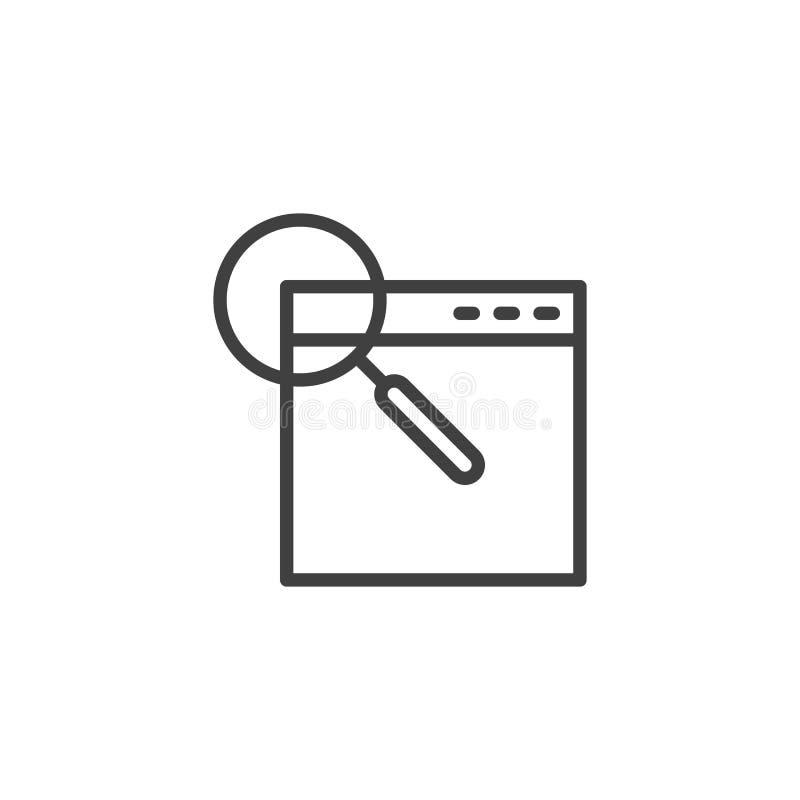 Browservenster met het pictogram van de vergrootglaslijn royalty-vrije illustratie