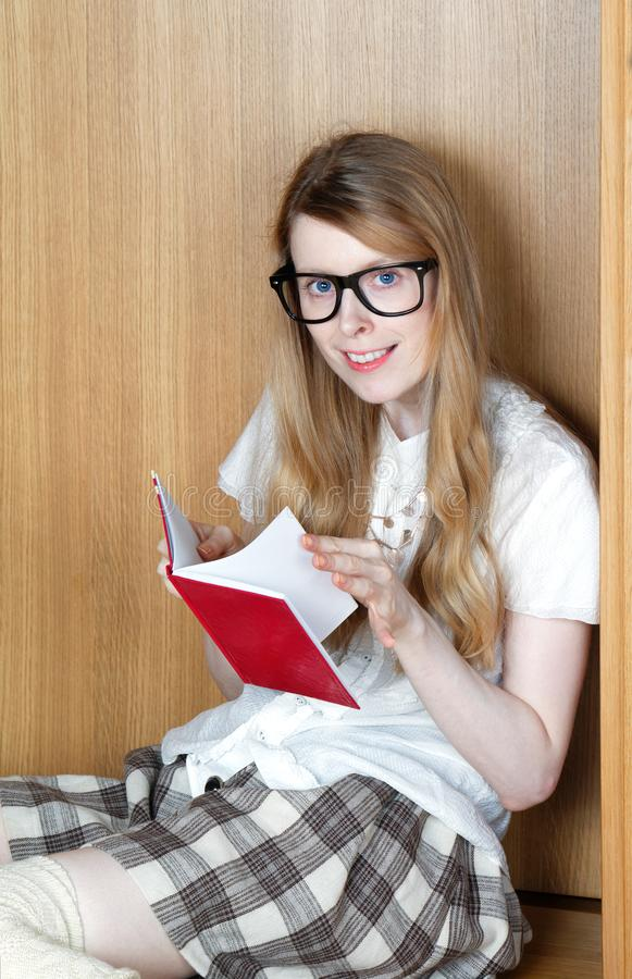 Browsing through book pages royalty free stock photo