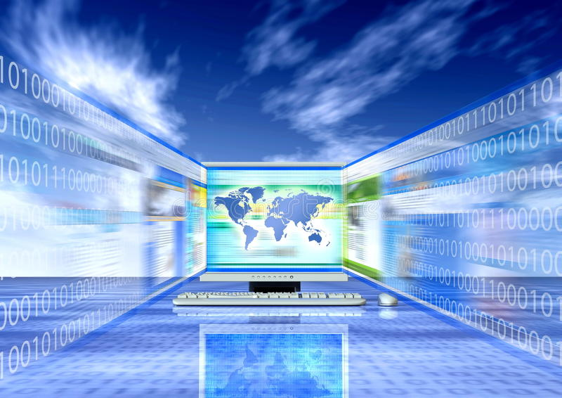 Browsing the Internet. Browsing through internet website in fast pace stock illustration