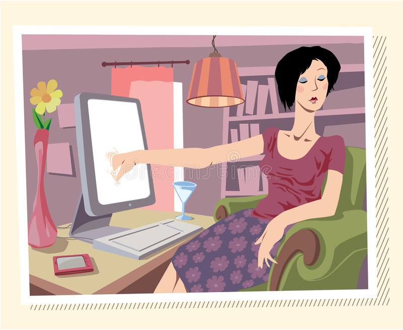 Browsing the Internet stock illustration