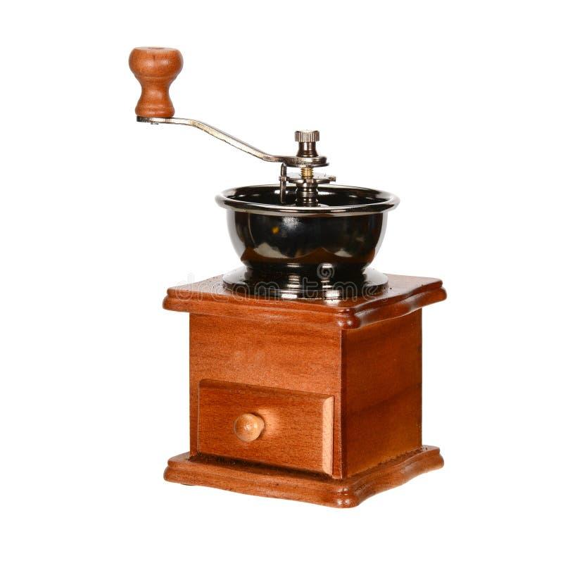 Broyeur de café manuelle en bois de cru fermez-vous, d'isolement sur le fond blanc photos libres de droits