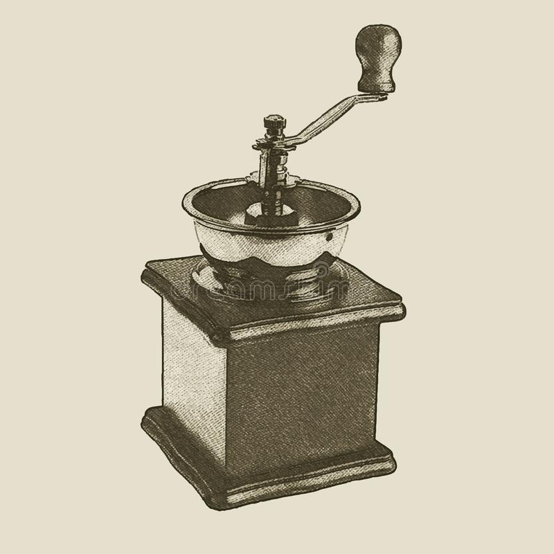 Broyeur de café tirée par la main de vintage illustration de vecteur