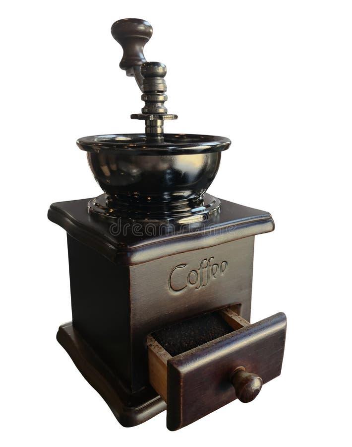 Broyeur de café de vintage d'isolement sur le fond blanc photos stock