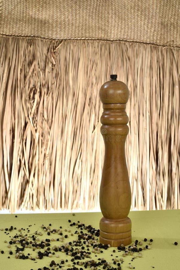 Broyeur de poivre avec des grains de poivrons sans fond de paille image libre de droits
