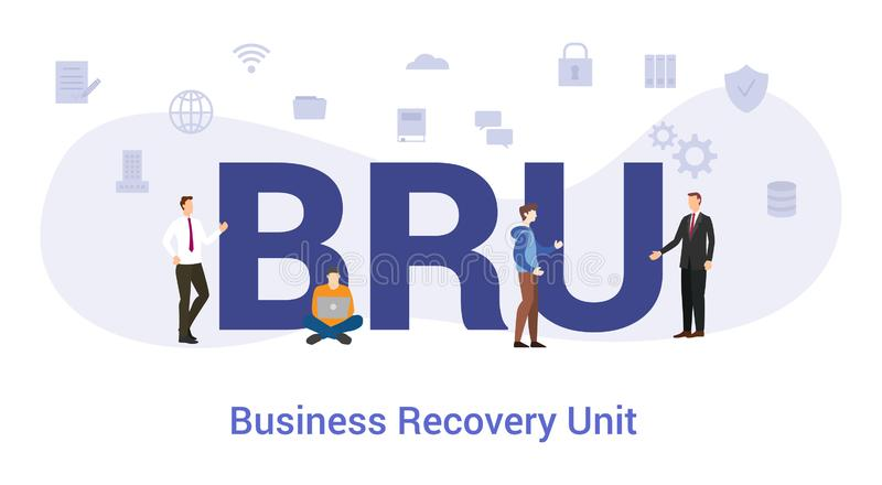 Bru business recovery unit concept with big word or text and team people with modern flat style - vector. Illustration vector illustration
