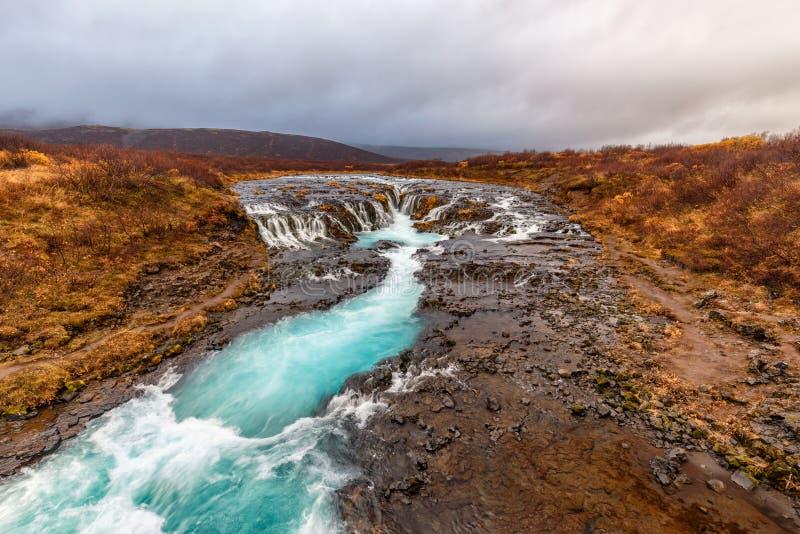 Bruarfoss en Islandia en otoño fotografía de archivo libre de regalías