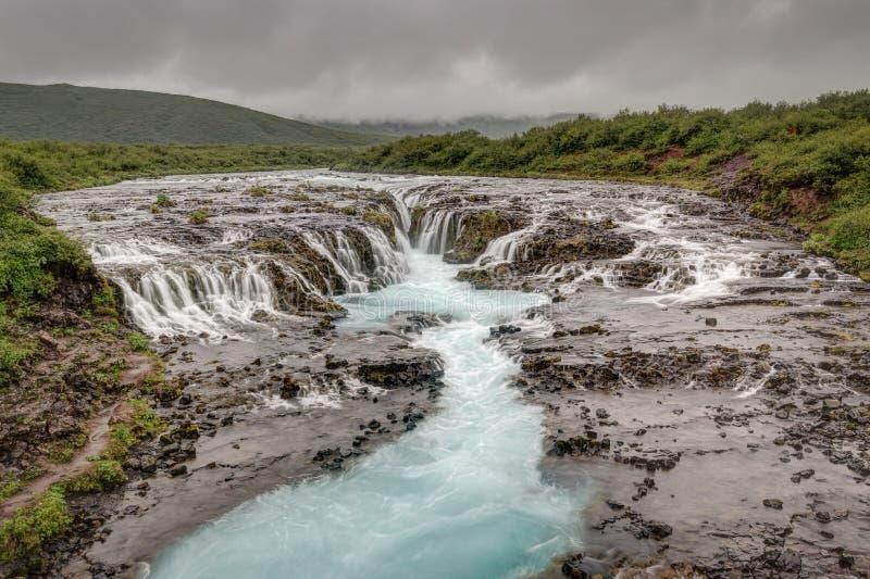 Bruarfoss-Wasserfall, Island-Landschaft lizenzfreie stockfotos
