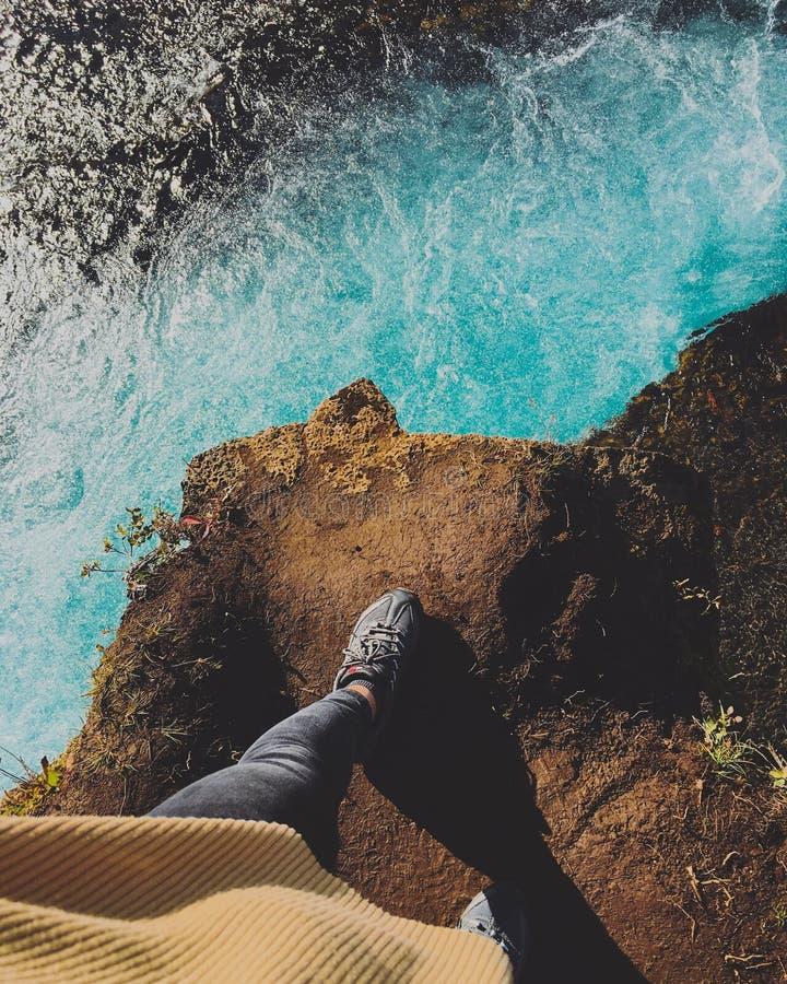 Bruarfoss-Wasserfall-Island-Landschaftsansicht stockfotos