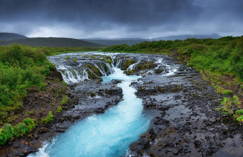 Bruarfoss waterfall, Iceland. Panoramic famouns place in Iceland. Fast river and cascades. Natural landscape at the summer. Travel - image royalty free stock photos