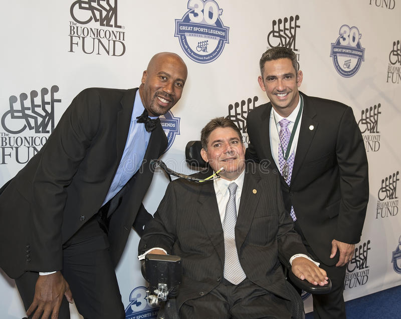 Bruce Bowen and Jorge Posada Join Marc Buoniconti stock photography