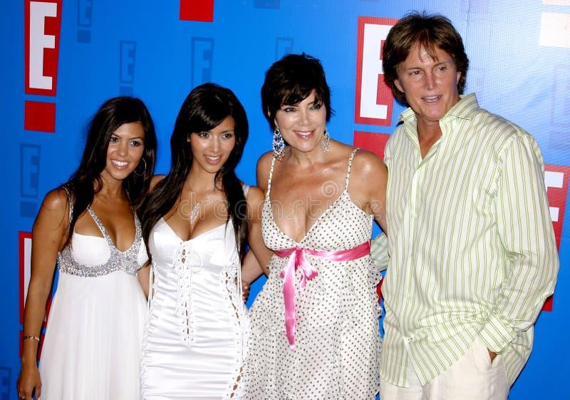 Bruce Jenner, Kris Jenner, Kim Kardashian i Kourtney Kardashian, obraz stock