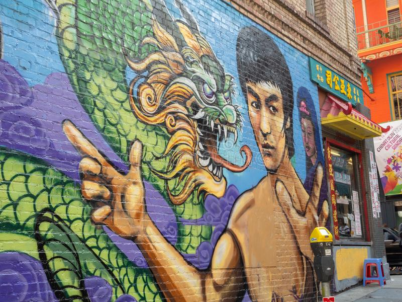 Bruce Lee dragon mural in Chinatown, San Francisco stock images