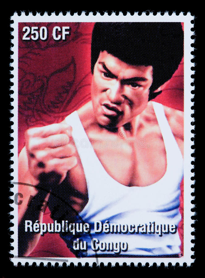 Bruce Lee Postage Stamp image stock