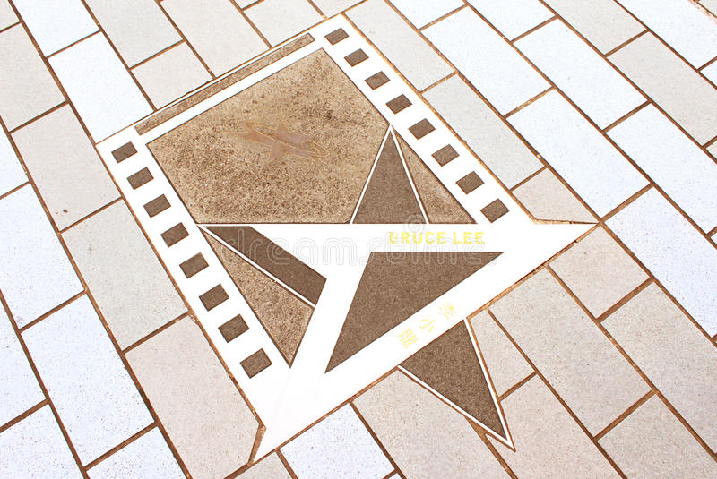 Bruce Lee's Star at the promenade in Hong Kong royalty free stock image