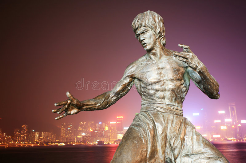 Bruce lee's statue stock images