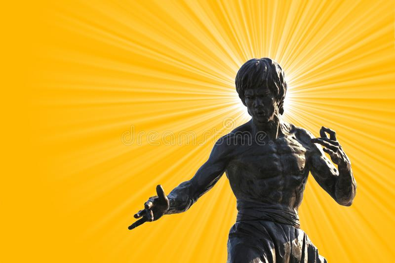 Bruce Lee statue on Avenue of the Stars, Hong Kong stock photo