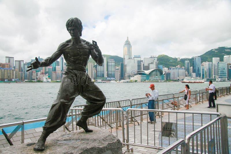 Bruce Lee Statue en Hong Kong images libres de droits