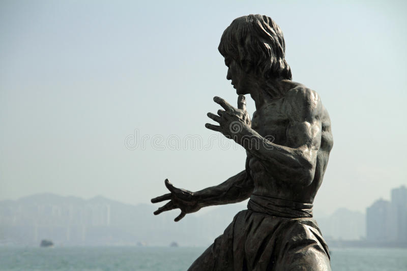 Bruce Lee statue. In Hong Kong stock image