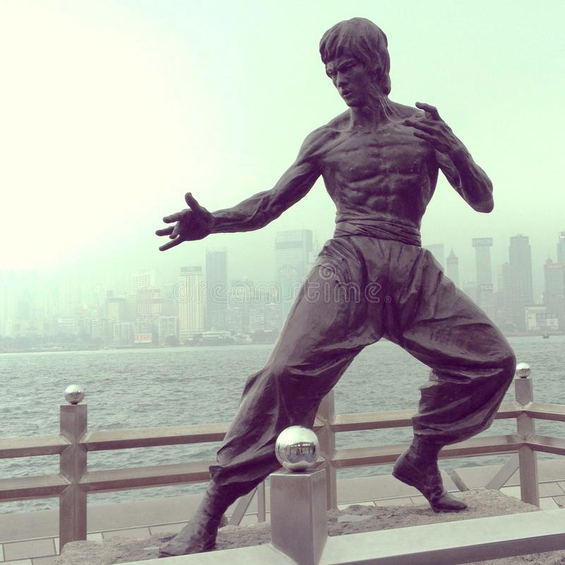 Bruce lee statue of hong kong royalty free stock photos