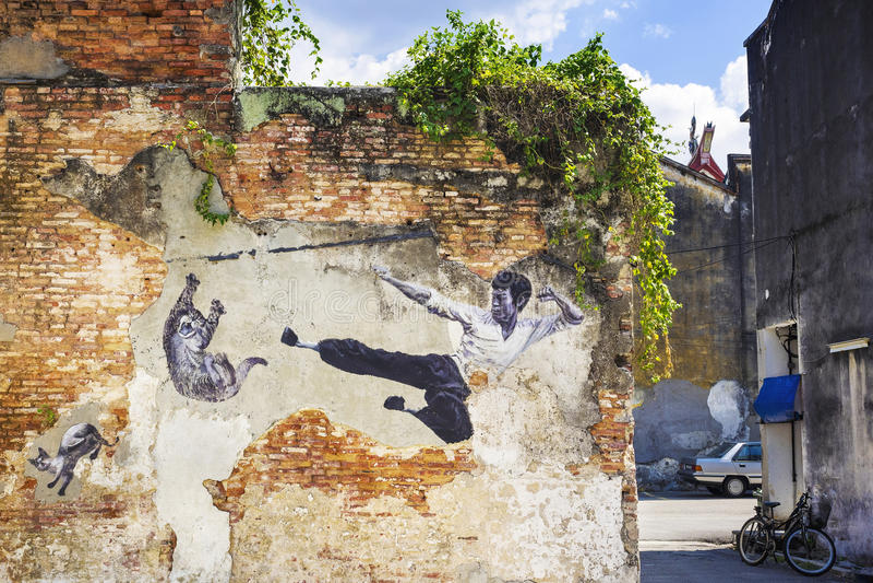 Bruce Lee Street Art Mural i Georgetown, Penang, Malaysia arkivfoto