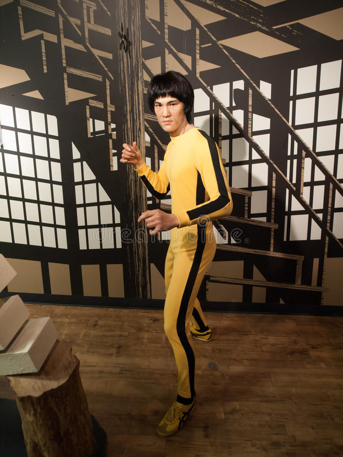 Bruce Lee wax statue royalty free stock photography