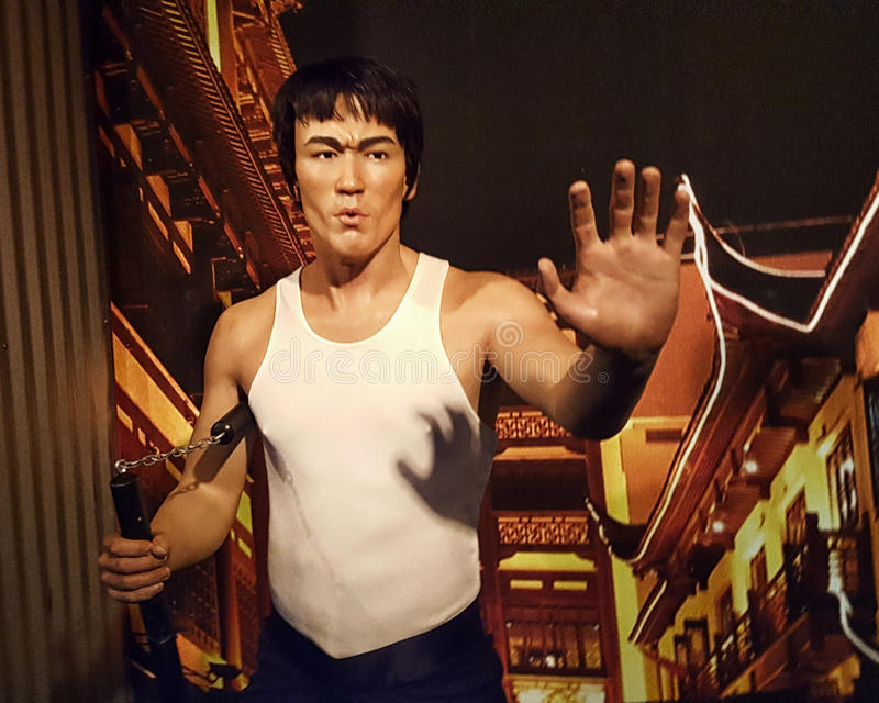 Bruce Lee Wax Statue Hollywood Wax-Museum stock foto