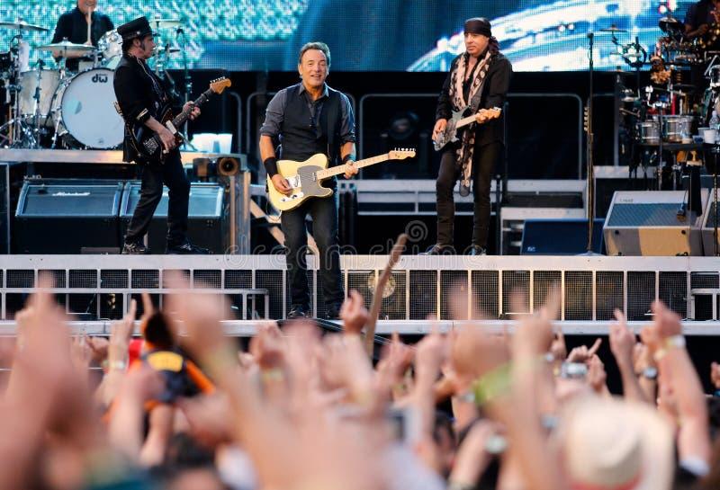 Bruce springsteen, the Boss in concert. Gijon Asturias, Spain. June 26, 2013. Bruce Springsteen concert with the E Street Band, in Molinon Stadium. North of stock image