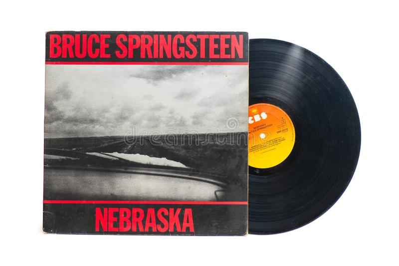Bruce Springsteen`s original vinyl record: Nebraska. San Pellegrino terme, Italy - November 19, 2019: Bruce Springsteen`s original vinyl record: Nebraska royalty free stock image