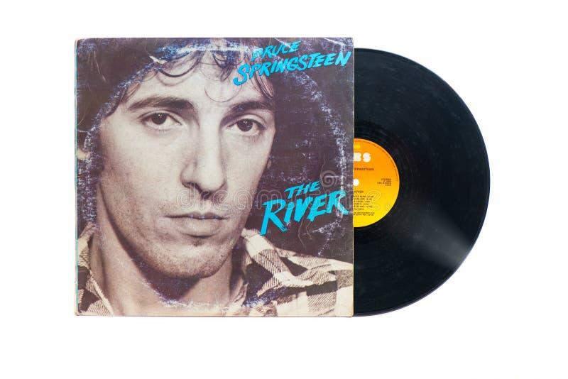 Bruce Springsteen`s original vinyl record: The river. San Pellegrino terme, Italy - November 19, 2019:  Bruce Springsteen`s original vinyl record: The river stock photography