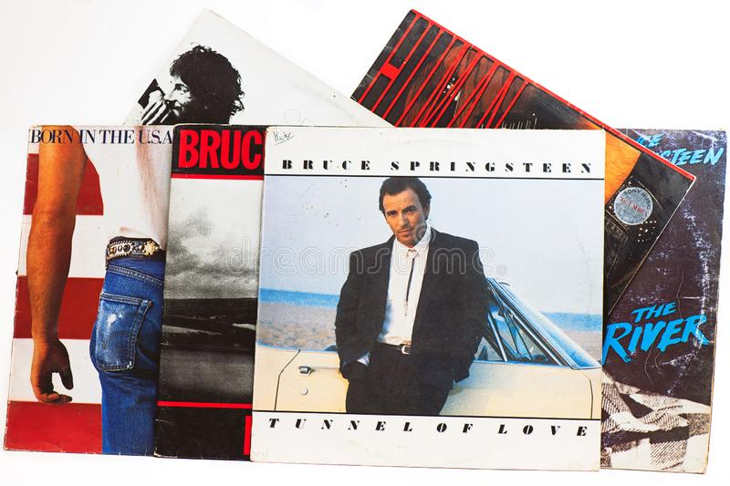 Bruce Springsteen`s original vinyl records: Tunnel of love and others. San Pellegrino terme, Italy - November 19, 2019: Bruce Springsteen`s original vinyl royalty free stock image