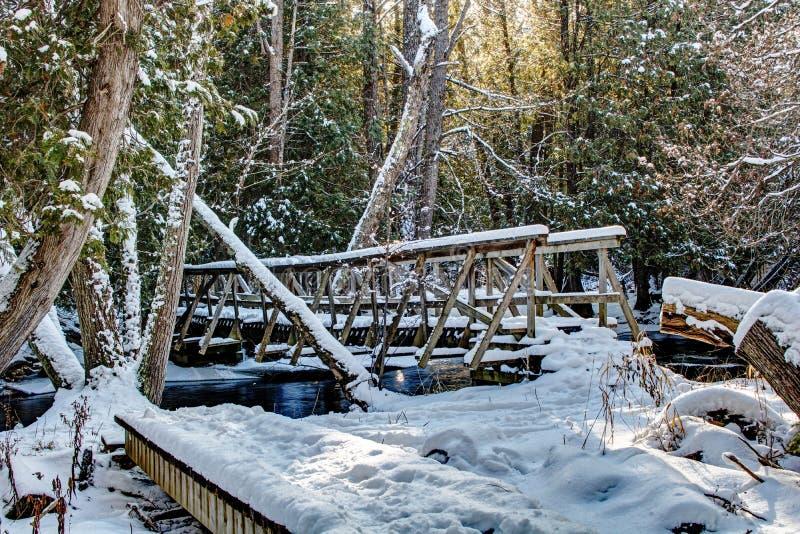 Bruce Trail Bridge Over Boyne River. A snow covered walking bridge spans the Boyne River at Boyne Valley Provincial Park, near Shelburne, Ontario, Canada. This royalty free stock photos