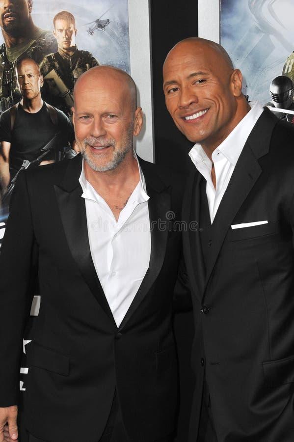 Bruce Willis,Dwayne Johnson stock images