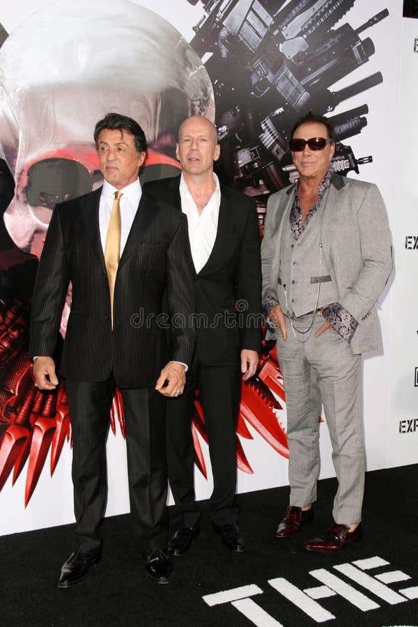 Bruce Willis, Mickey Rourke, Sylvester Stallone fotografía de archivo