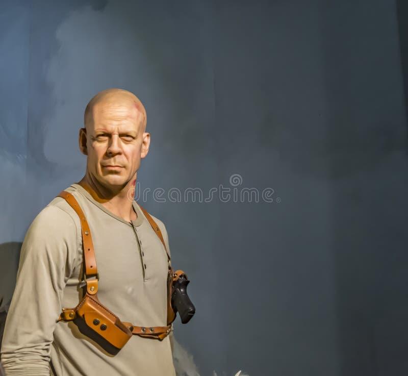 Bruce Willis vaxstaty - Kanyakumari, Indien royaltyfria foton