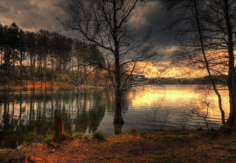 Brucher`s dam in Marienheide. Fantasy Composing stock images
