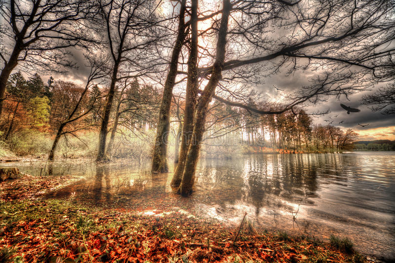 Brucher`s dam in Marienheide. Fantasy Composing stock image