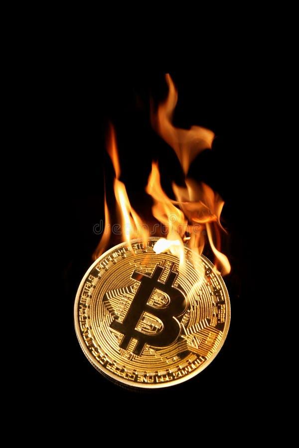 Bruciando nel bitcoin dorato del fuoco isolato sul nero immagini stock libere da diritti
